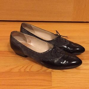 Vintage Salvatore Ferragamo leather lace up heels
